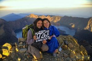 Davide and Otilia at Mount Rinjani Summit